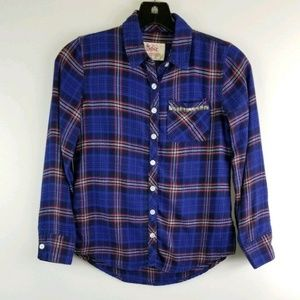 justice Girl 8 Blue Plaid L/S Button Down Shirt